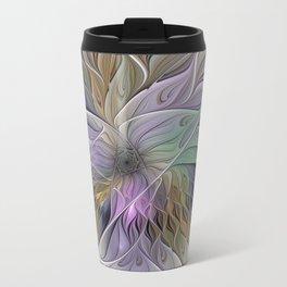 Abstract Flower, Colorful Floral Fractal Art Travel Mug