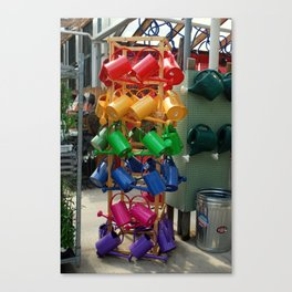 A Rainbow Assortment of Watering Cans Canvas Print