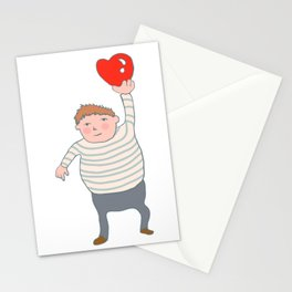 fat boy holding a heart. Stationery Cards