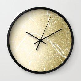 Paris France Minimal Street Map - Gold Foil Glitter Wall Clock