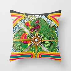 Classic Centipede Woodcut Throw Pillow