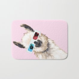 Sneaky Llama with 3D Glasses in Pink Bath Mat