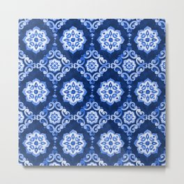 Watercolor royal blue pattern,  tiling ornament. Metal Print