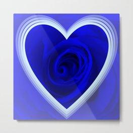 Rose in Heart,blue Metal Print