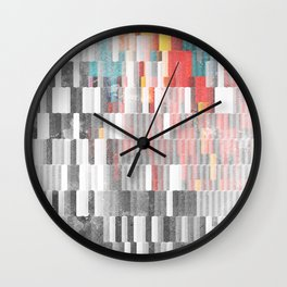 Vibrant Graffity on Black and White Geometry Wall Clock