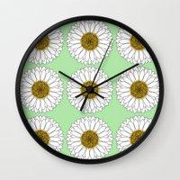 daisy Wall Clocks featuring Daisy by Lorelei Douglas