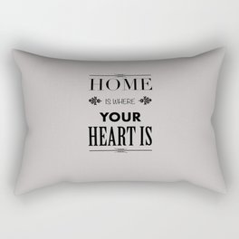 Home Heart grey - Typography Rectangular Pillow