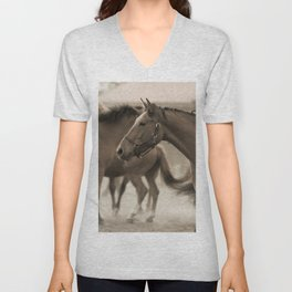 Horses in a stud Unisex V-Neck
