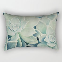 Botanical -- Jade, Mother-of-pearl, Ghost Plant Leaves Rectangular Pillow