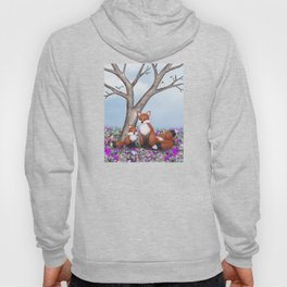 fox, cubs and tufted titmice Hoody