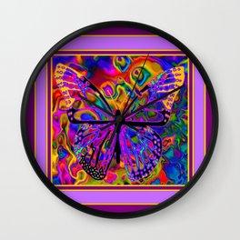 Purple Shades Rainbow Colored  Butterfly Fantasy Art Wall Clock