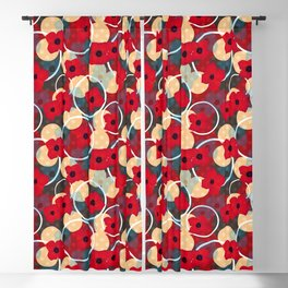 Red flowers , retro abstract floral retro vintage  Blackout Curtain