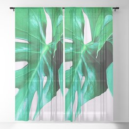 Cheese Plant Leaves Sheer Curtain