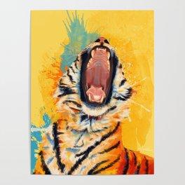 Wild Yawn - Tiger portrait Poster