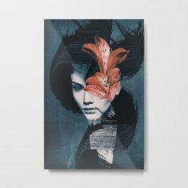 Red Flowers/Lady Portrait Metal Print