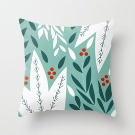 Winter botany in blue Throw Pillow