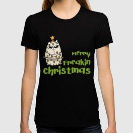 Merry Freakin Christmas Cat in Christmas Lights T-shirt