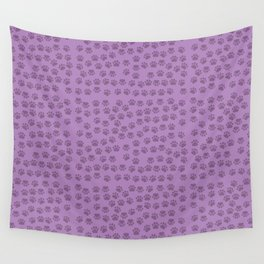 Dog Paws, Traces, Paw-prints - Purple Wall Tapestry