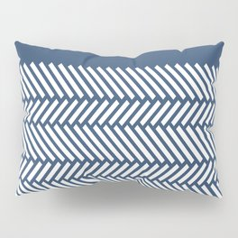 Herringbone Boarder Navy Pillow Sham