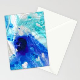 Modern Abstract Art - Blue Marble by Sharon Cummings Stationery Cards