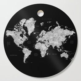 Black and grey watercolor world map with cities Cutting Board