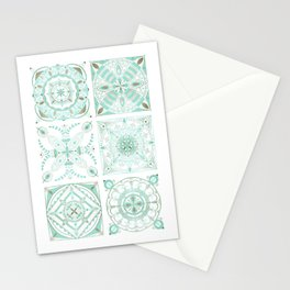 Mint and gold ceramic tiles Stationery Cards