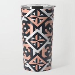 Nuts and Bolts // Spanish floor tile pattern in coral black and white Travel Mug