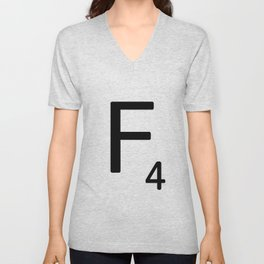 Letter F - Custom Scrabble Letter Tile Art - Scrabble F Unisex V-Neck