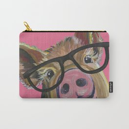 Pink Pig Painting, Cute Farm Animal Carry-All Pouch