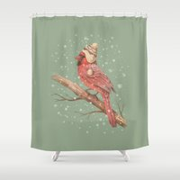 snow Shower Curtains featuring First Snow  by Terry Fan