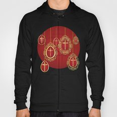 Gold crosses and eggs shapes on red Hoody