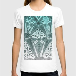 Indian wall Painting Mosaic Flowers - turquoise T-shirt