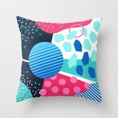 Memphis pastel blue green pink Throw Pillow