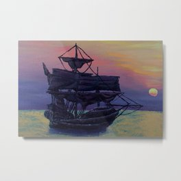 Ship and Sunset Metal Print