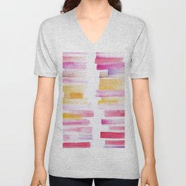 8 | 181101 Watercolour Palette Abstract Art | Lines | Stripes | Unisex V-Neck
