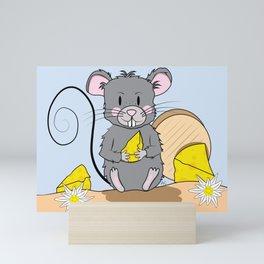 Cartoon Mouse with Cheese Mini Art Print
