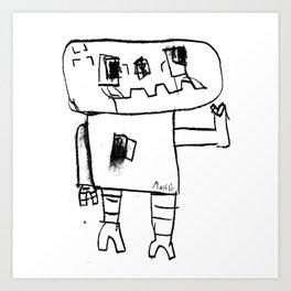 Robot Wave ByeBye Art Print