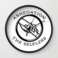 divergent Wall Clocks featuring Divergent - Abnegation The Selfless by Lunil