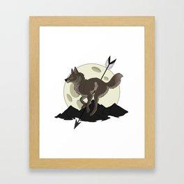 Wolf Moon and Arrow Framed Art Print