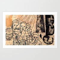 postcard Art Prints featuring Postcard by Abe Honest
