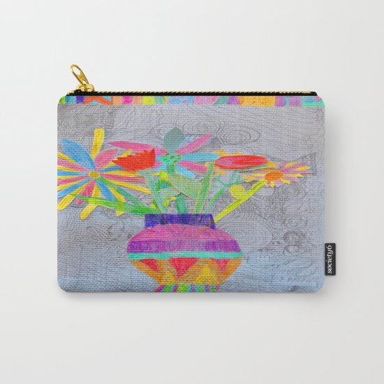 Flower Vase | Kids Painting | 3D Collage Carry-All Pouch