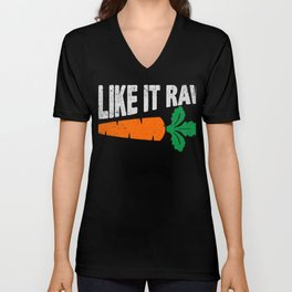 I Like It Raw Funny Vegetarian T-Shirt Unisex V-Neck