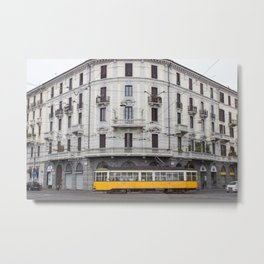 Milan Yellow Street Car Metal Print