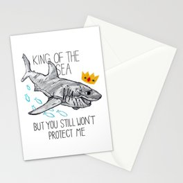 KING OF THE SEA - shark in pen, pencil, and crayon Stationery Cards