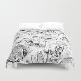 rabbits and flowers parties Duvet Cover