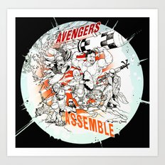 Earth's Mightiest Heroes Art Print