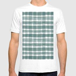 Watercolor Brushstroke Plaid Pattern Pantone Forest Biome 19-5230 T-shirt