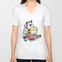 hobbes V-neck T-shirts featuring Not the Droids! by Billy Allison