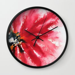 Crimson Red Abstract Flower Watercolor Wall Clock