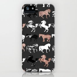 Rose Gold and Black and White Marble Modern Horses iPhone Case